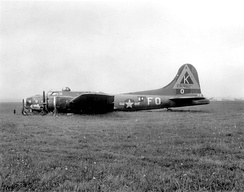 Lockheed/Vega B-17G-15-VE Flying Fortress AAF Serial No. 42-97462 of the 527th Bomb Squadron after a belly landing. This aircraft was repaired and returned to combat duty.