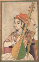 A Lady Playing the Tanpura, ca. 1735.