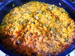 Arroz con gandules, one of the national dishes of Puerto Rico