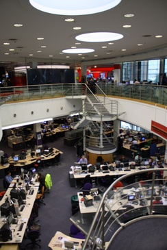 The combined newsroom for domestic television and radio was opened at Television Centre in West London in 1998.