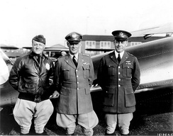 Generals Benjamin D. Foulois, Assistant Chief of Air Corps (left); James E. Fechet, Chief of Air Corps; and H. Conger Pratt, Chief of Materiel Division, in 1931.
