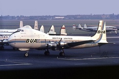 A British United Airways ATL-98 Carvair seen parked on the apron with two Capitol International Lockheed Constellations and an Air France Breguet Deux-Ponts in the background at Berlin Tempelhof in August 1967.