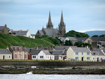 St Peter's, Buckie, as seen from offshore between Cluny and Buckpool harbours