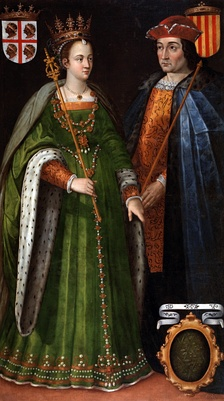 16th-century painting by Filippo Ariosto depicting Petronilla and Berenguer IV (dinastic union of the Crown of Aragon in 1137).
