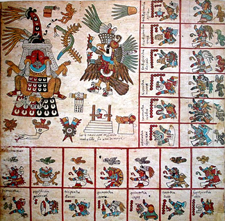 A reproduction of the original page 13 of the Codex Borbonicus, showing elements of an almanac associated with the 13th trecena of the tonalpohualli, the Aztec version of the 260-day Mesoamerican calendar.