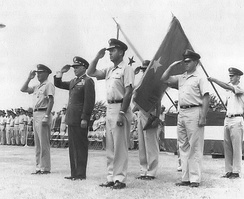 General John P. McConnell (second from left), Air Force Chief of Staff. presides over ceremonies at Robins AFB, Georgia, on 31 July 1968, marking the retirement of Lt. Gen. Henry Viccellio (left) as the last commander of the Continental Air Command on that day, the discontinuation of the Command and establishment of Headquarters Air Force Reserve the next day, and the appointment to command of the new organization and promotion to major general the next day of Brig. Gen. Rollin B. Moore, Jr. (second from right).