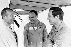 Apollo 10 backup crew (left to right) Cooper, Edgar Mitchell, and Donn Eisele during water egress training in April 1969.