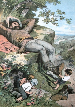 Illustration of the fairy tale character, Tom Thumb, on a hillside, next to a giant's foot.