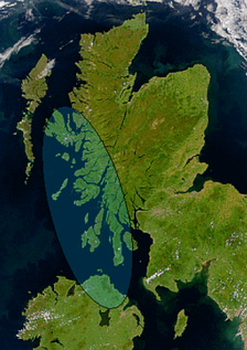 Satellite image of Scotland and Northern Ireland showing the approximate greatest extent of Dál Riata (shaded). The mountainous spine which separates the east and west coasts of Scotland can be seen.