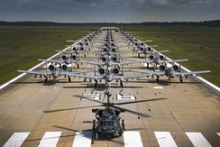 Aircraft from the 23rd Wing conducted a surge exercise May 22, 2017, at Moody Air Force Base, Ga. The exercise demonstrated the wing's ability to rapidly deploy combat ready forces across the globe. The 23rd Wing maintains and operates A-10C Thunderbolt IIs, HH-60G Pave Hawks, and HC-130J Combat King II aircraft for precision attack, personnel recovery and combat support worldwide.