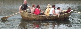 Reconstruction of a first-century currach on the Great Ouse.