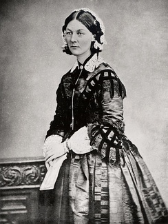 During the Crimean War, Florence Nightingale and her team of nurses cleaned up the military hospitals and set up the first training school for nurses in the United Kingdom.[94]