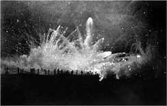 Artillery barrage on Allied trenches at Ypres. The Germans began an artillery bombardment of the forward slope of Frezenberg ridge on 8 July.