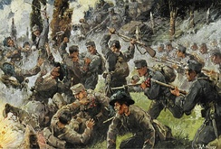 Depiction of the Battle of Doberdò, fought in August 1916 between the Italian and the Austro-Hungarian armies