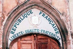 "The Republican motto ""Liberté, Egalité, Fraternité"" was put on in 1905 (following the French law on the separation of the state and the church) to show that this church was owned by the state."