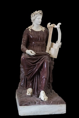 Apollo seated with lyre. Porphyry and marble, 2nd century AD. Farnese collection, Naples, Italy.