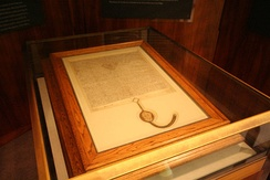 A 1297 copy of Magna Carta, owned by the Australian Government and on display in the Members' Hall of Parliament House, Canberra