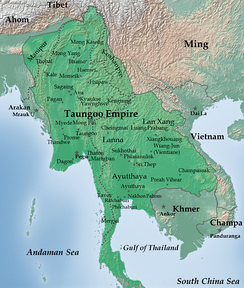Toungoo Empire under Bayinnaung in 1580.