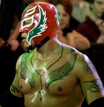 Rey Mysterio is one of the most notable masked wrestlers in the US, although he was unmasked in World Championship Wrestling (right)