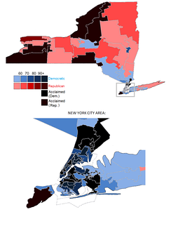 Vote share of each candidate by main party per district. Candidates can run on multiple parties in New York; the shading is the sum of votes a candidate received for all parties, although only the main party is used for shading. Simcha Felder is considered a Democrat for purposes of this map.