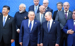 Nazarbayev and Russian President Vladimir Putin during the 2017 SCO Council of Heads of State meeting in Nur-Sultan