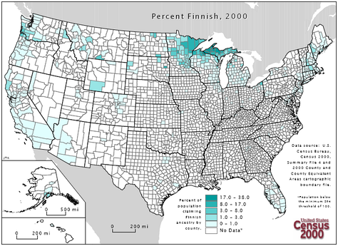 A map showing concentrations of Finnish American ethnicity in the United States.