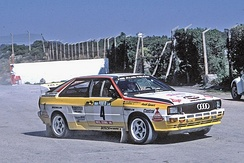 Walter Röhrl driving a Quattro A2 at the 1984 Rally Portugal