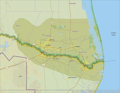 This is a bi-national map showing the Lower Rio Grande Valley.
