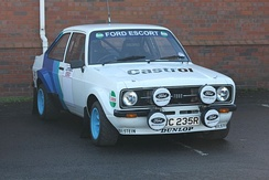 A Ford Escort RS in 1979 Ford Motorsport colours at the 2014 Race Retro show