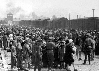 """Selection"" of Hungarian Jews on the ramp at Birkenau, May/June 1944"