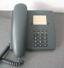 A landline telephone made by Siemens