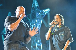 Dr. Dre performing with Snoop Dogg, 2012