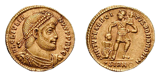 Solidus, obverse showing Julian as philosopher, reverse symbolizing the strength of the Roman army
