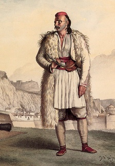 A Souliote warrior wearing fustanella, by Dupré Louis.