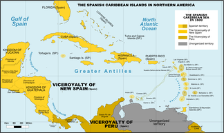 Spanish Caribbean Islands in the American Viceroyalties 1600