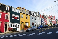 Houses in St. John's are typically painted in bright colours.