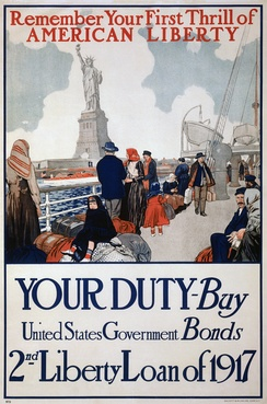 Government poster using the Statue of Liberty to promote the sale of Liberty Bonds