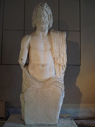 Colossal seated Marnas from Gaza portrayed in the style of Zeus.  Roman period Marnas[97] was the chief divinity of Gaza (Istanbul Archaeology Museum).