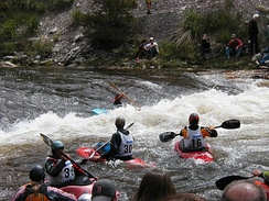 Kayakers at Charlie's Hole on the Yampa River