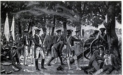 British soldiers firing at Bengali forces underneath a mango orchard in Plassey (Palashi), 1757