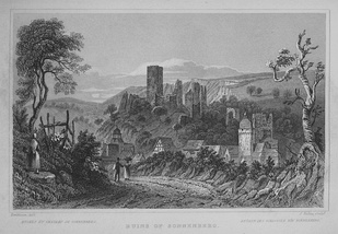 "Ruins of Sonnenberg, steel engraving from ""Views of the Rhine"" by William Tombleson (c. 1840)"