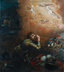 Afonso Henriques receiving divine intervention at the Battle of Ourique (1139), where he was acclaimed King of the Portuguese. Painting of 1665.