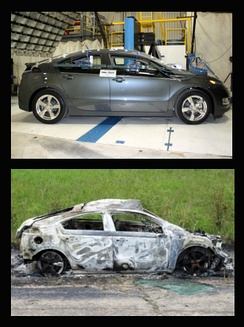 Chevrolet Volt that caught fire after the pole test in June 2011. Top: before the NHTSA's pole test. Below: After the fire.