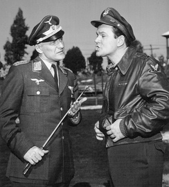 Werner Klemperer with Bob Crane during an episode of Hogan's Heroes