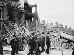 Winston Churchill visiting bomb-damaged areas of the East End of London, 8 September 1940