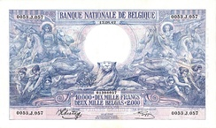 1929 Belgian banknote, depicting Ceres, Neptune and caduceus