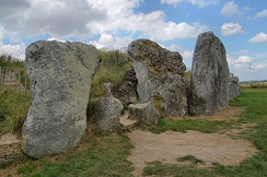 The front area of West Kennet Long Barrow in Wiltshire