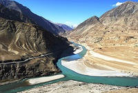 Confluence of Indus River and Zanskar River in the Himalayas