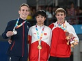 Boys victory ceremony (from left to right): Andrew Stamp (Silver), Fu Fantao (Gold), Benny Wizani (Bronze)