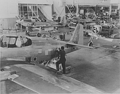 A-36A production line at NAA Inglewood, October 1942.